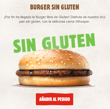 Hamburguesa Burger King sin gluten