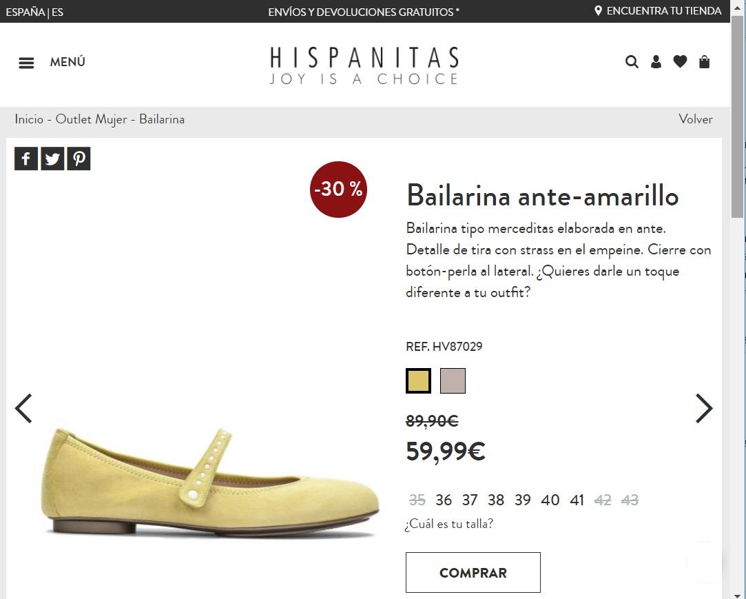 Hispanitas bailarina outlet invierno con descuento del 30%