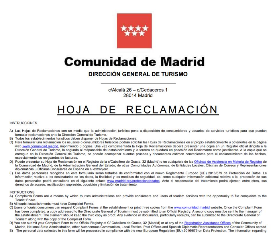 Hojas reclamaciones Madrid anverso