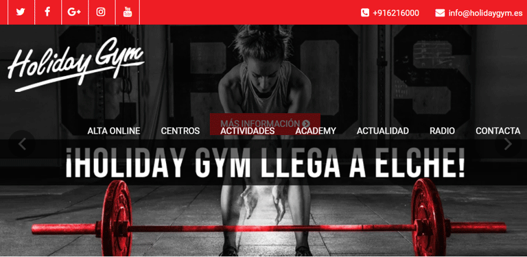 Holiday Gym homepage