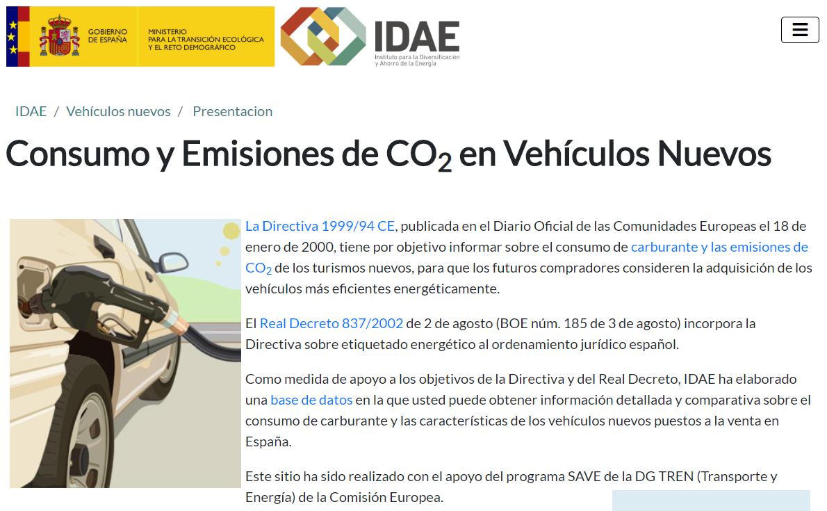 IDAE Base de datos de consumo y emisiones de coches