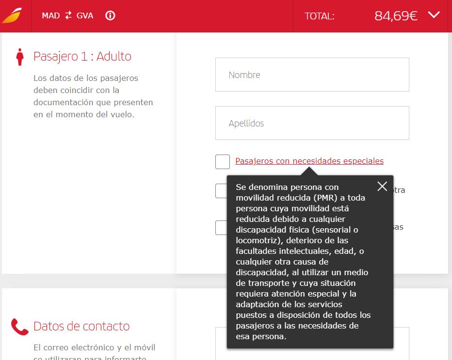Iberia petición asistencia PMR