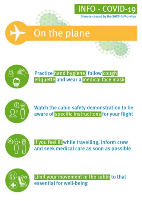 Información a bordo del avión COVID