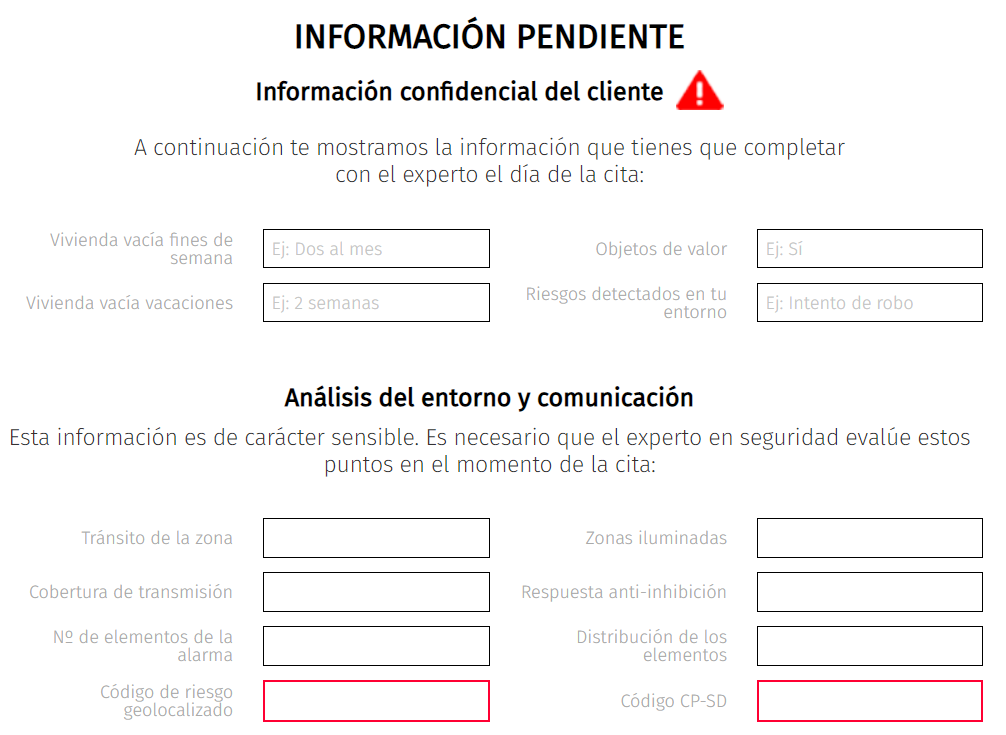 Información pendiente simulador alarma Securitas Direct