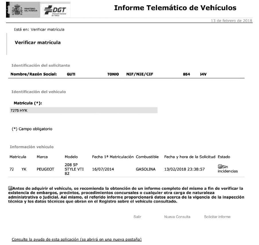 Informe simple DGT