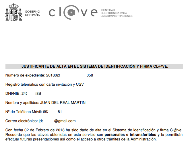 Justificante alta en Cl@ve