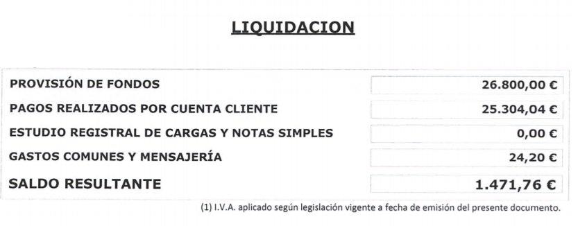 Liquidacion gastos gestoria hipoteca