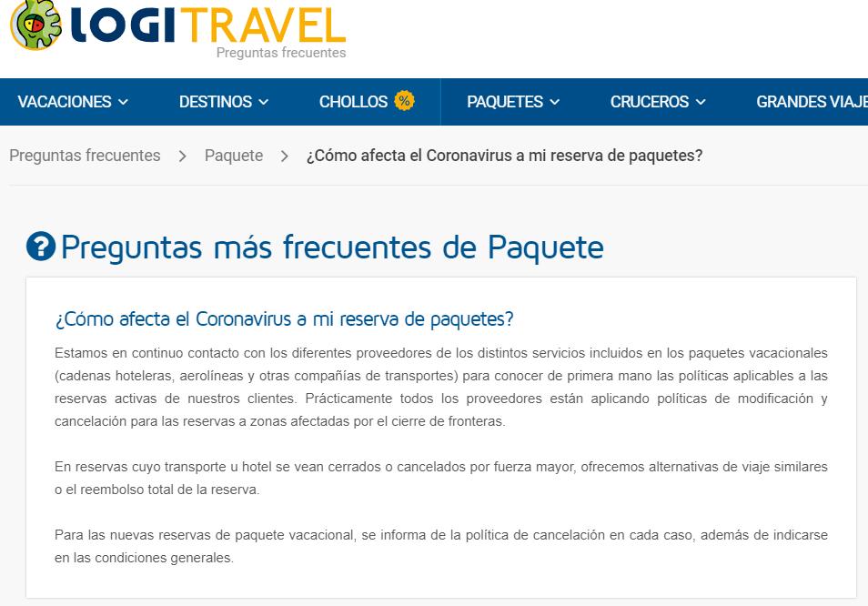 Logitravel cancelación viaje coronavirus