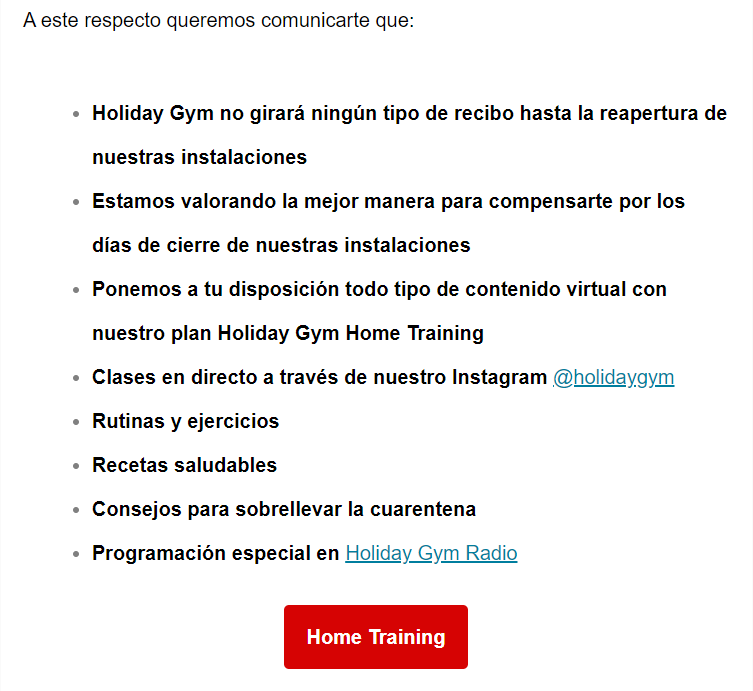Mail de Holiday Gym martes 24 03 2020 parte 2