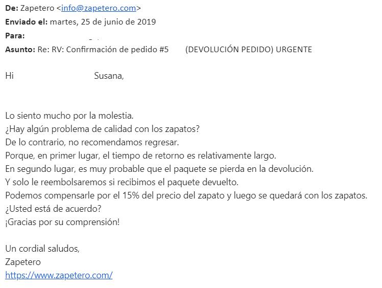 Mail de Zapetero