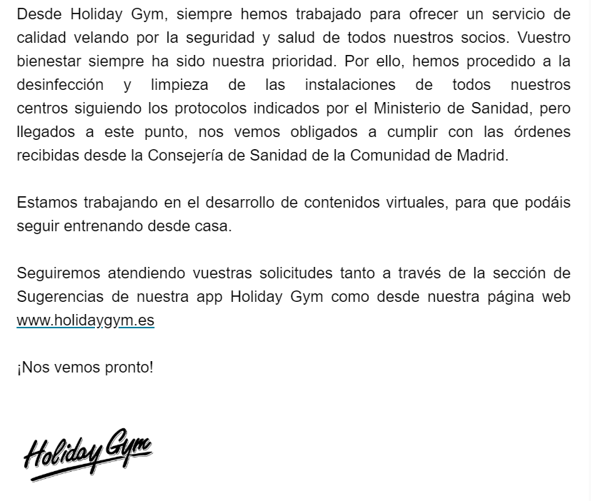 Mail de holiday Gym viernes 13 03 2020 parte 2