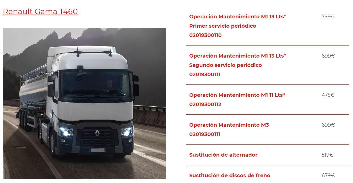 Mantenimiento camión renault Gama T460