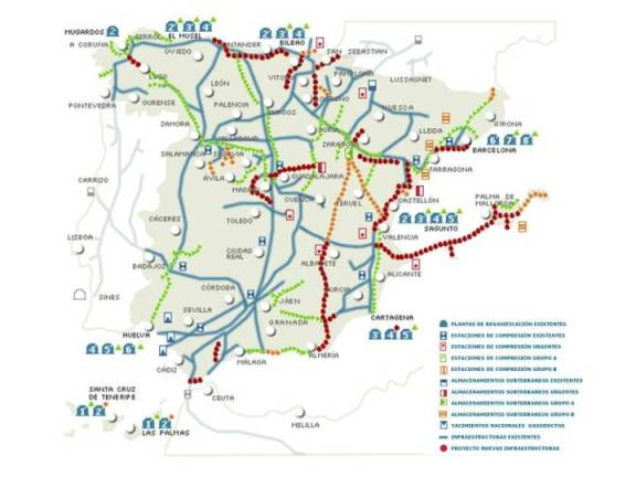 Mapa canalizaciones de gas natural