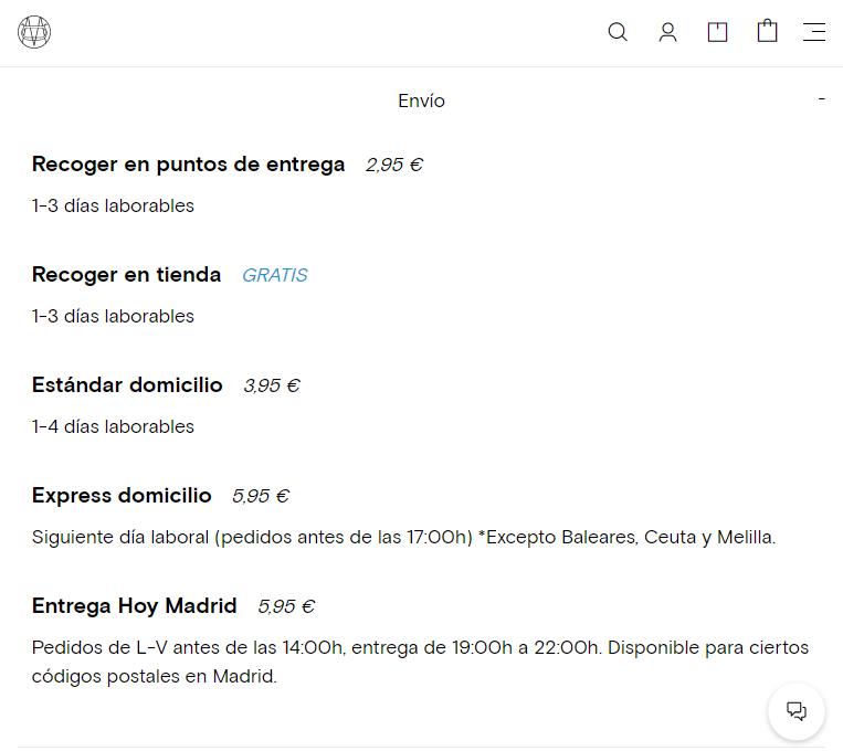 Massimo Dutti Online envíos