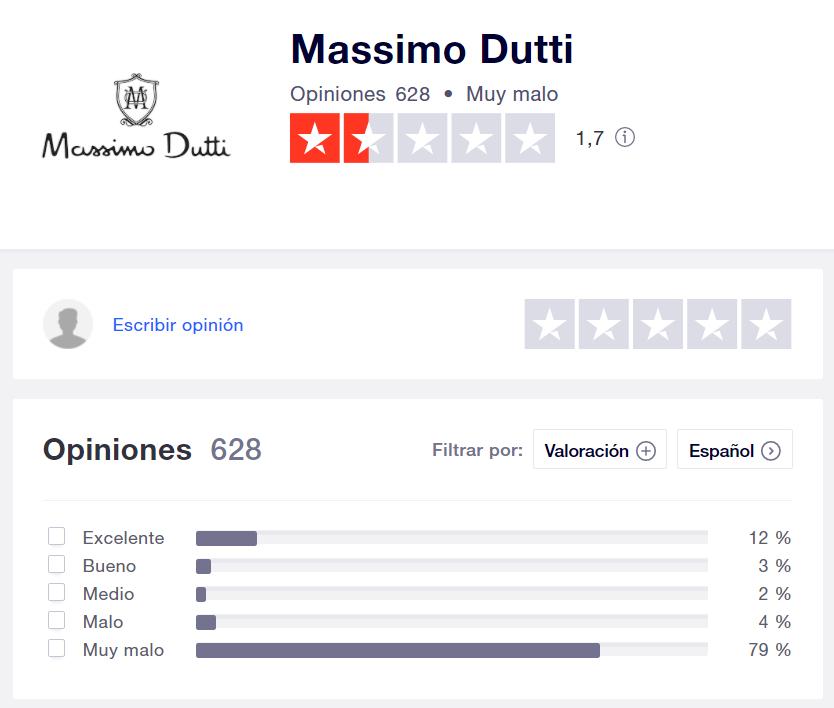 Massimo Dutti opiniones Trustpilot