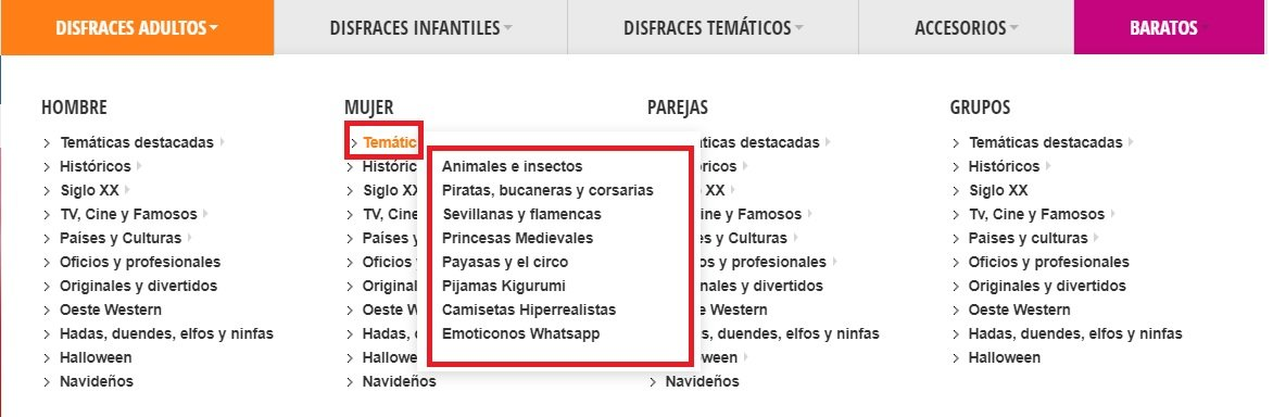 Menu disfraces Jarana