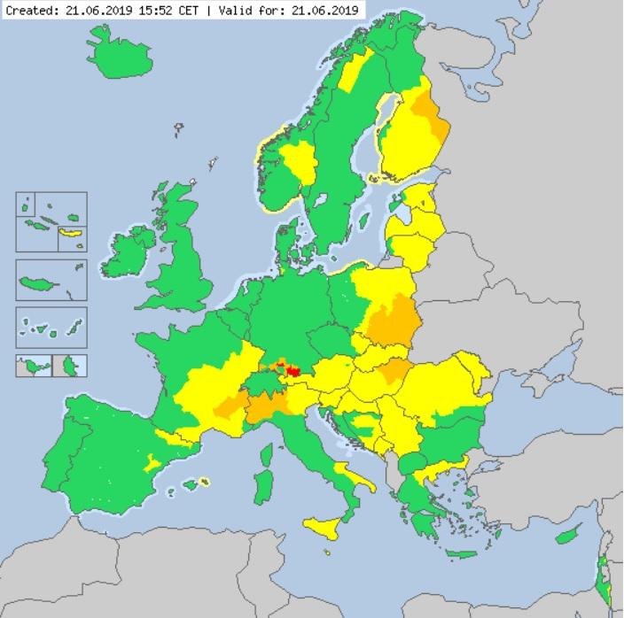Meteoalarm. Situación Europa a 21 06 2019