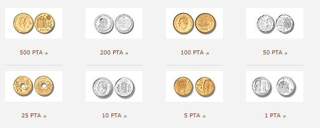 Monedas de pesetas admitidas por el Banco de España