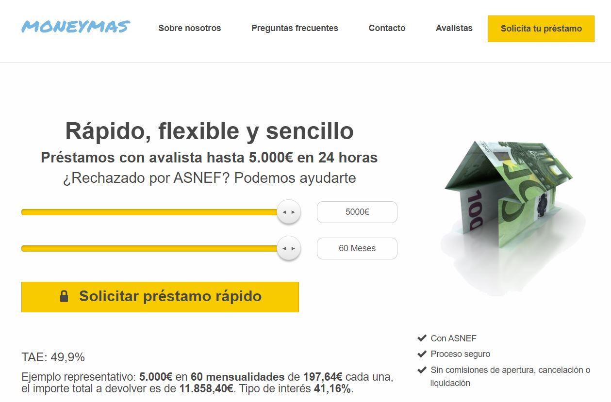 Moneymas préstamos con ASNEF