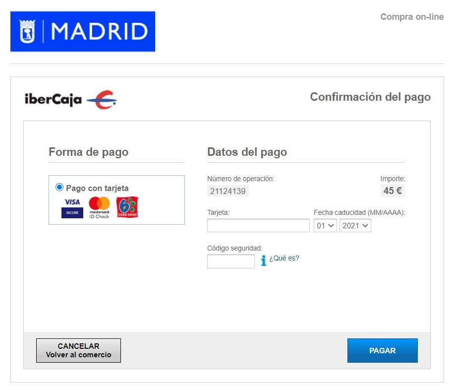 Multas Madrid TPV virtual