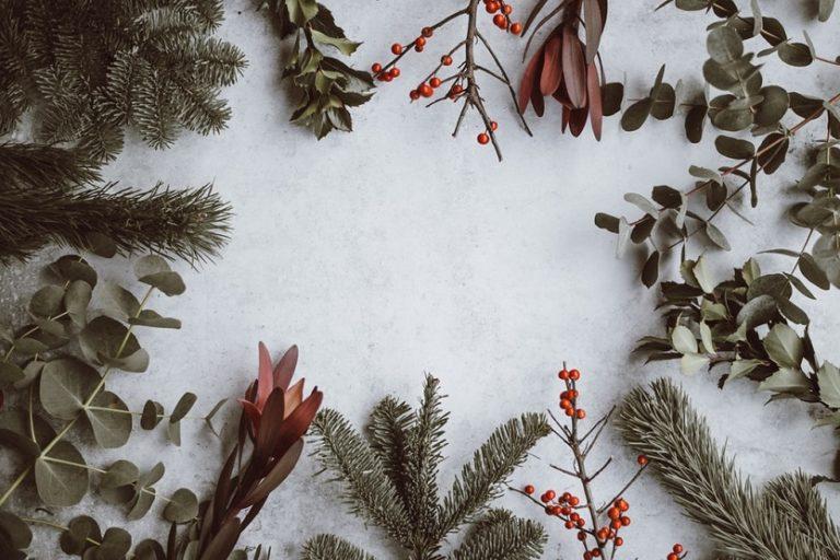 Navidad árboles y hojas navideñas