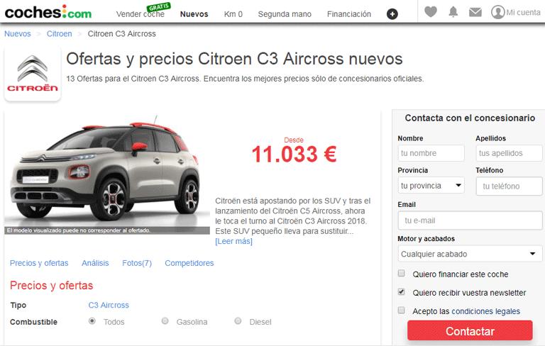 Ofertas y precios Citroen C3 Aircross nuevo