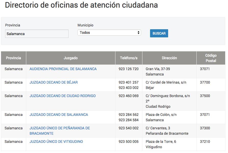 Oficinas Atención Ciudadana Salamanca