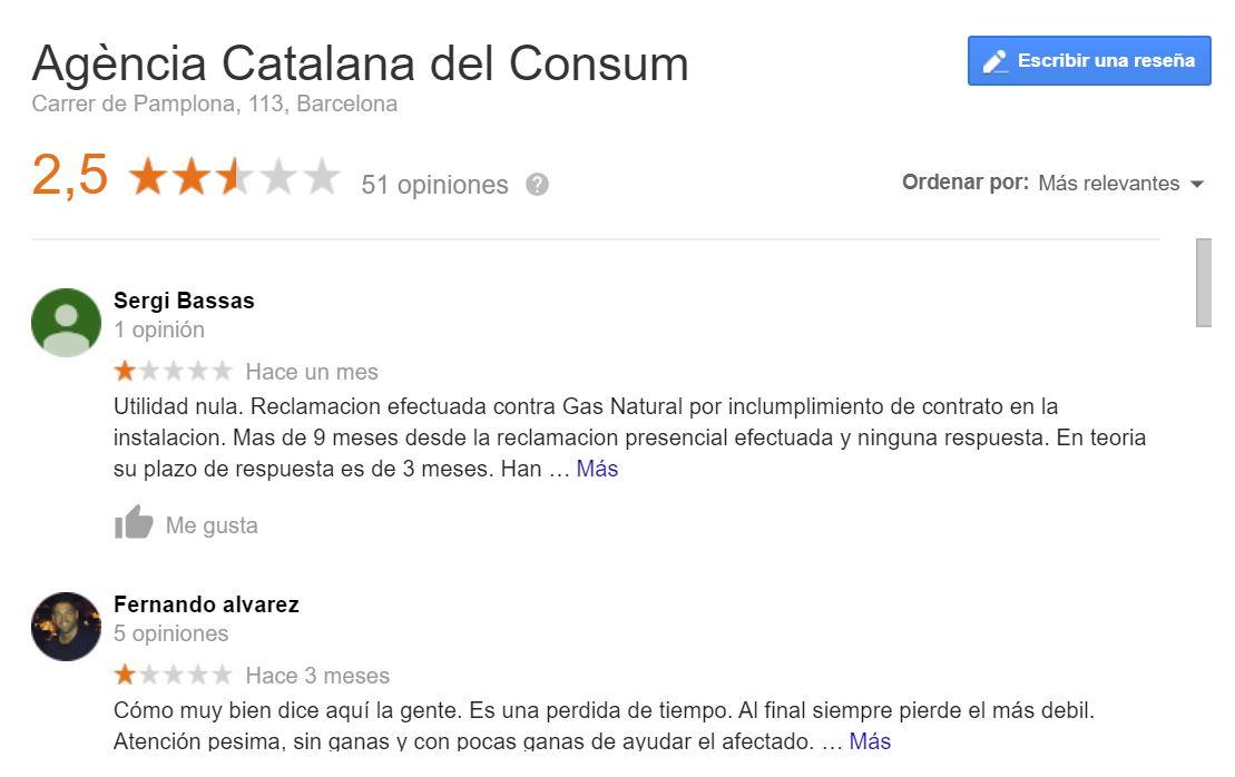 Opiniones Agència Catalana del Consum