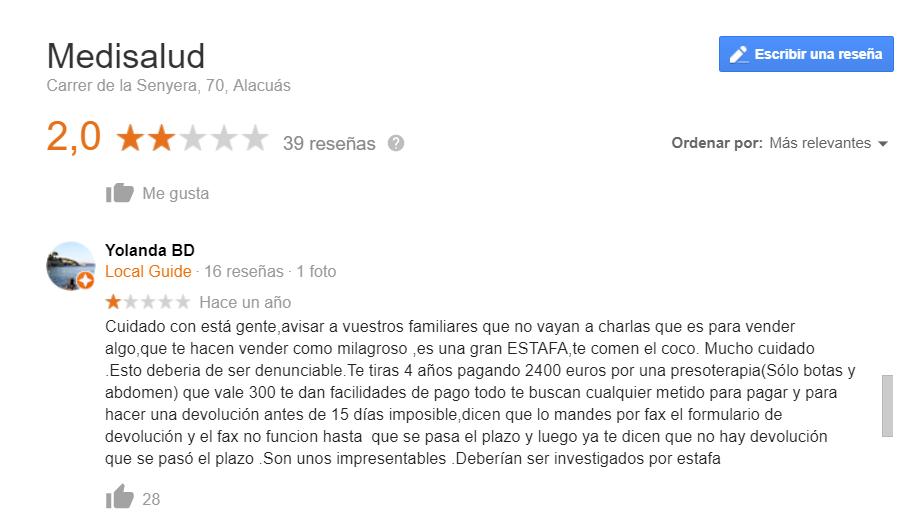 Opiniones Medisalud Google 2