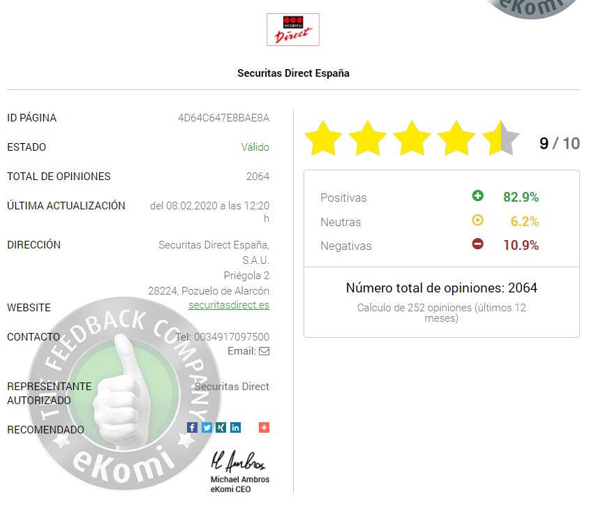 Opiniones Securitas Direct eKomi