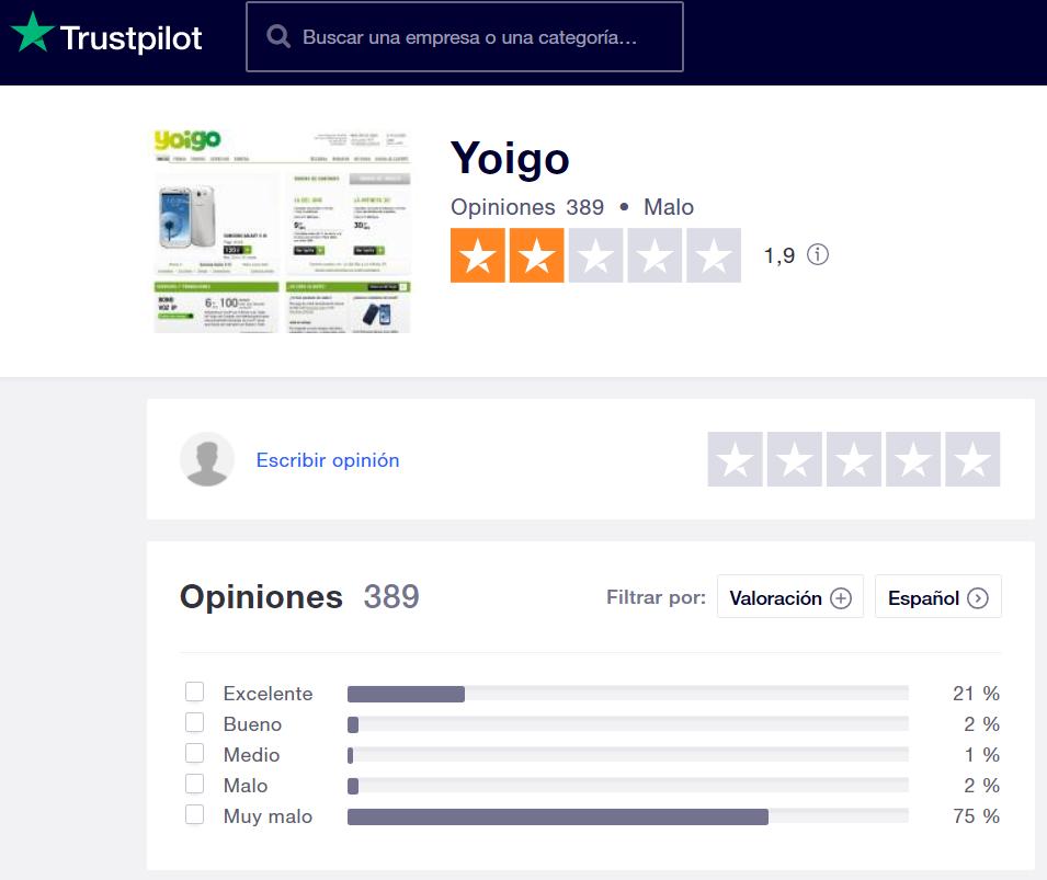 Opiniones Yoigo Trustpilot