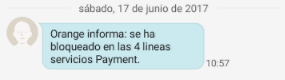 Orange bloqueo SMS DE PAGO