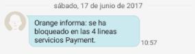 Orange bloqueo SMS DE PAGO