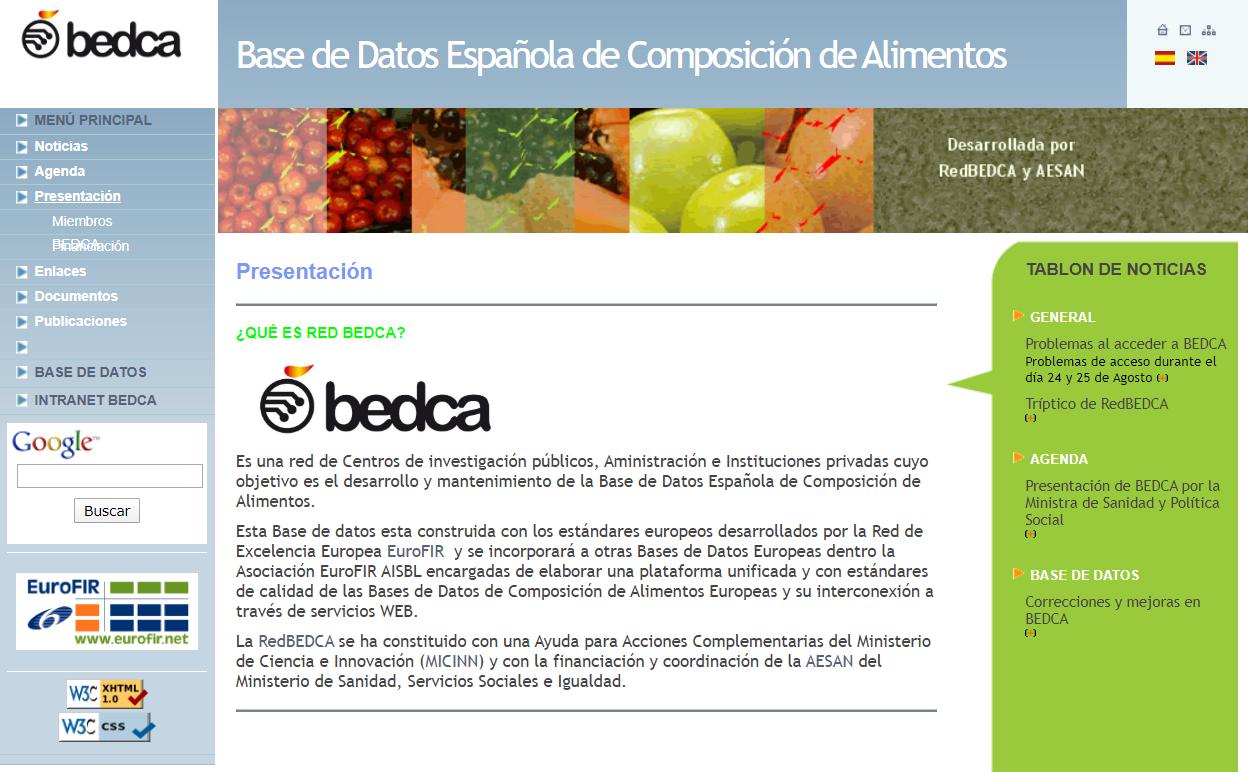 Página web de BEDCA