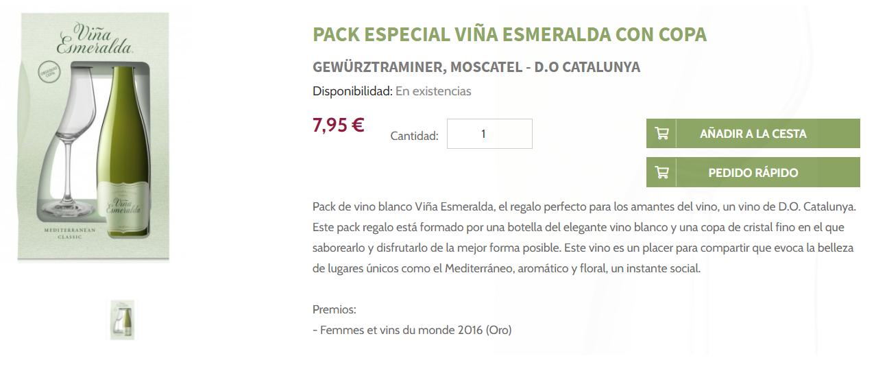 Pack especial Viña Esmeralda con copa shop.torres.es