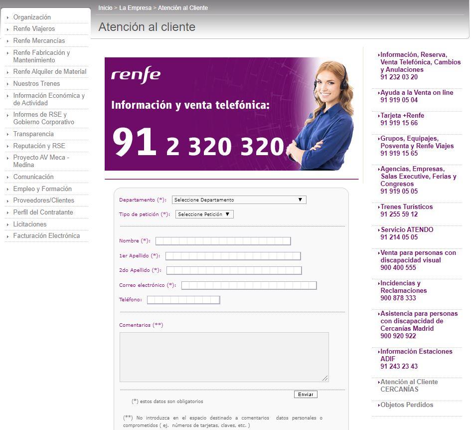 Pagina de atención al cliente de Renfe