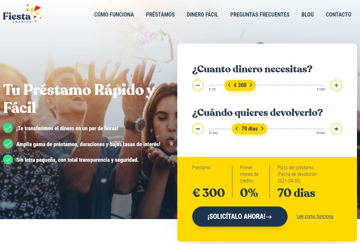 Página web de Fiesta Crédito