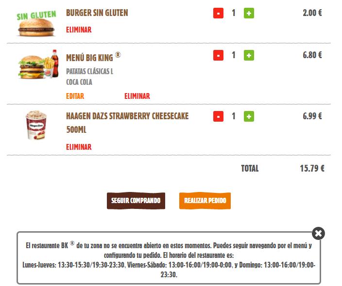 Pedido Burger King a domicilio fuera de horario
