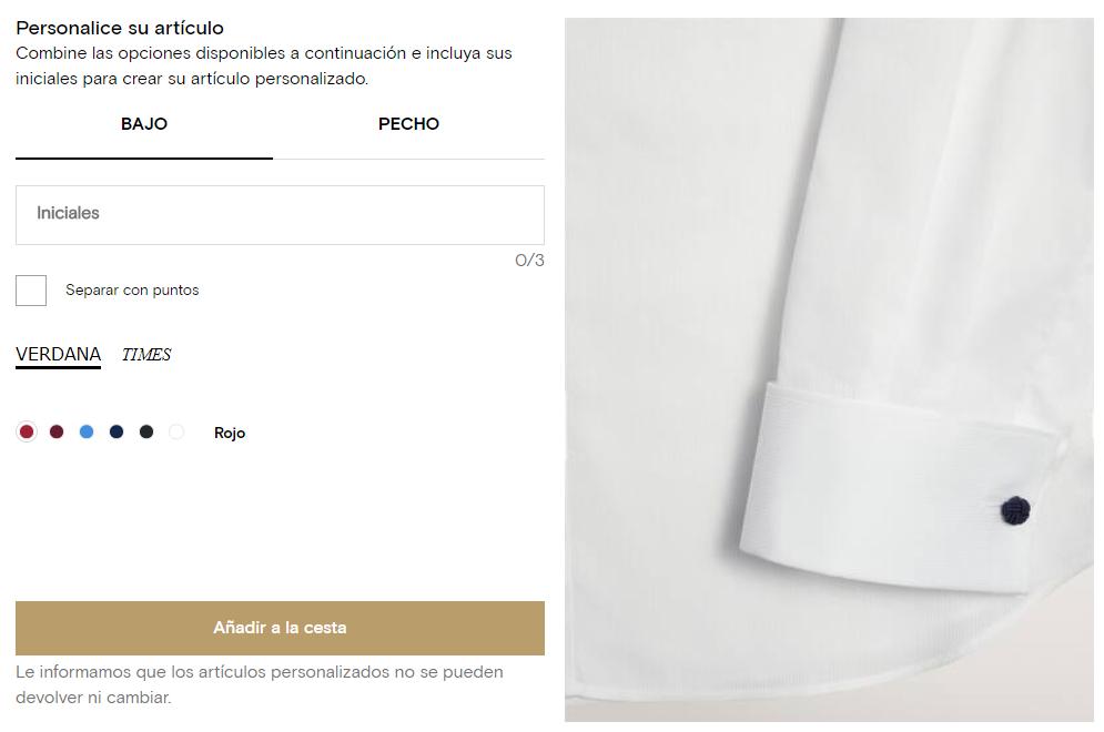 Personalización camisa con iniciales