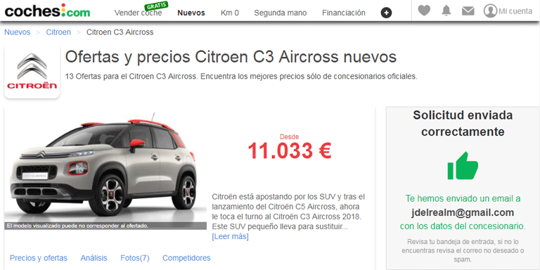 Petición de precio al concesionario Citroen