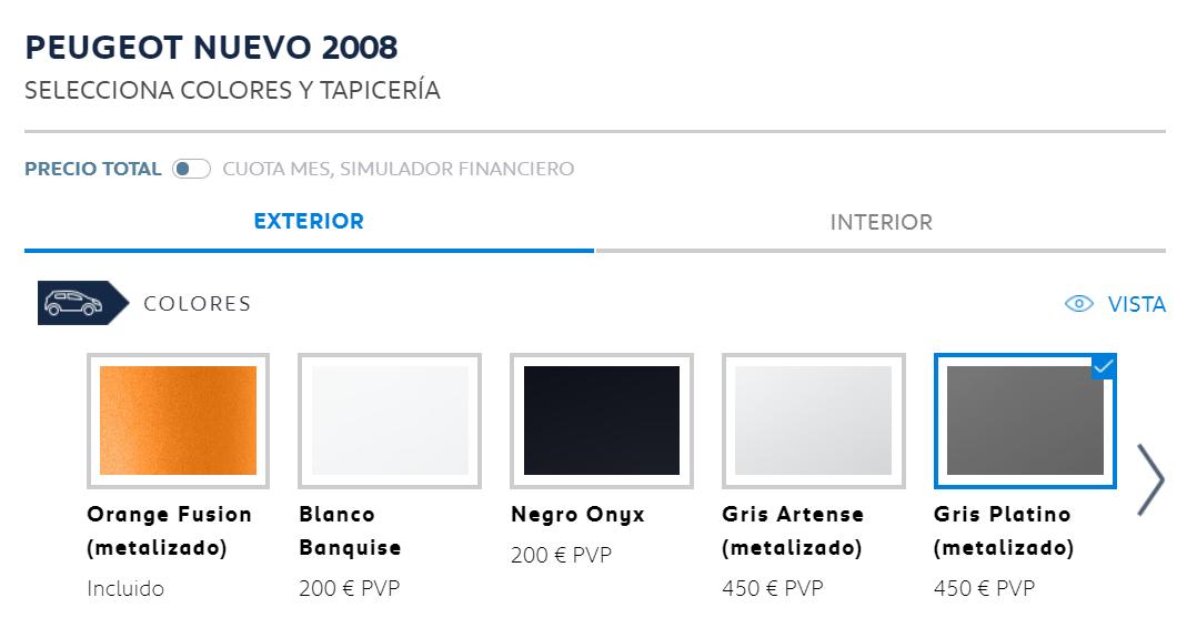 Peugeot 2008 colores disponibles 2020