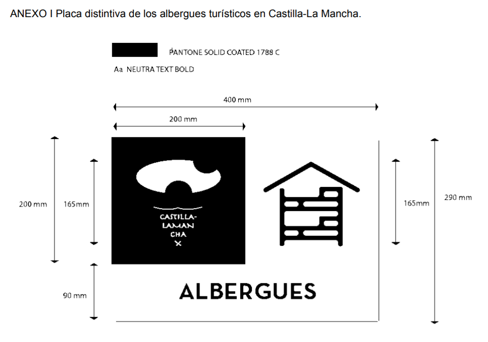 Placa distintiva de los albergues turísticos en Castilla-La Mancha