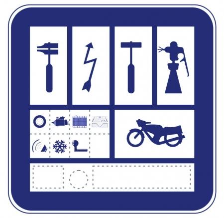 Placa-distintivo taller de motos