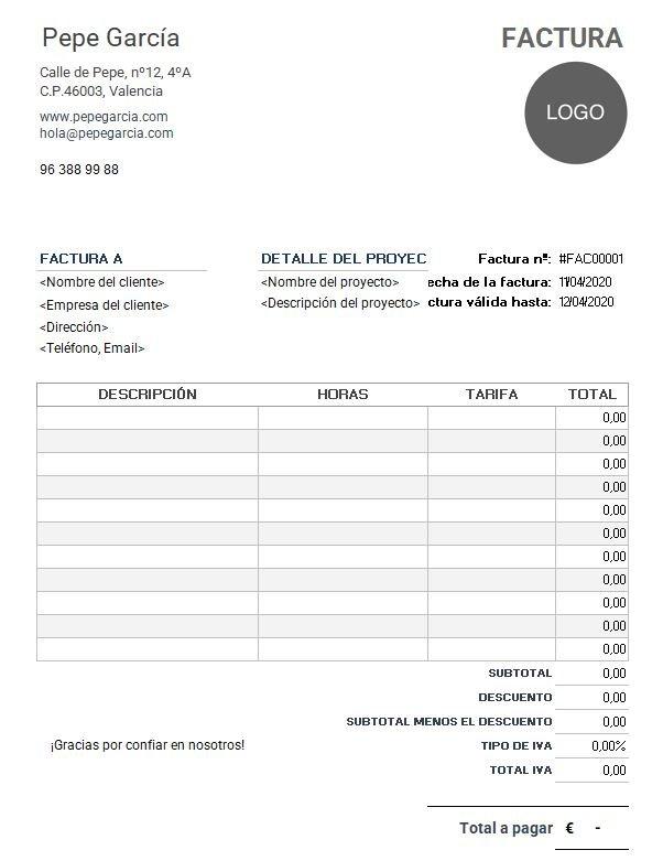 Plantilla factura autonomo (fuente plantillafactura.es)