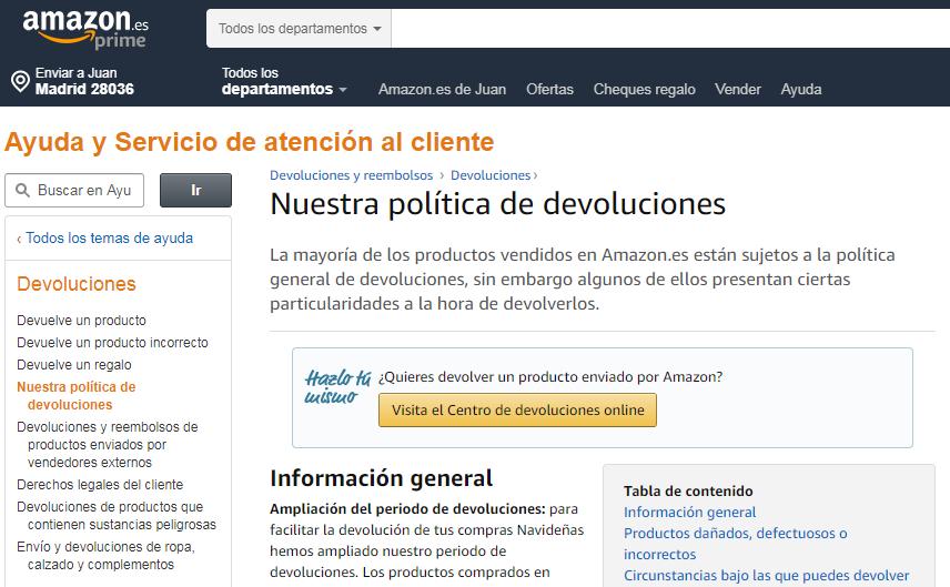 Política de devoluciones Amazon