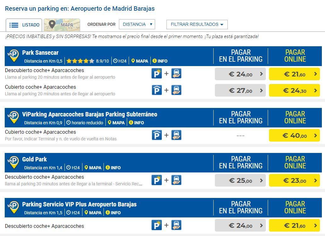 Precio aparcamiento aeropuerto de Madrid MyParking