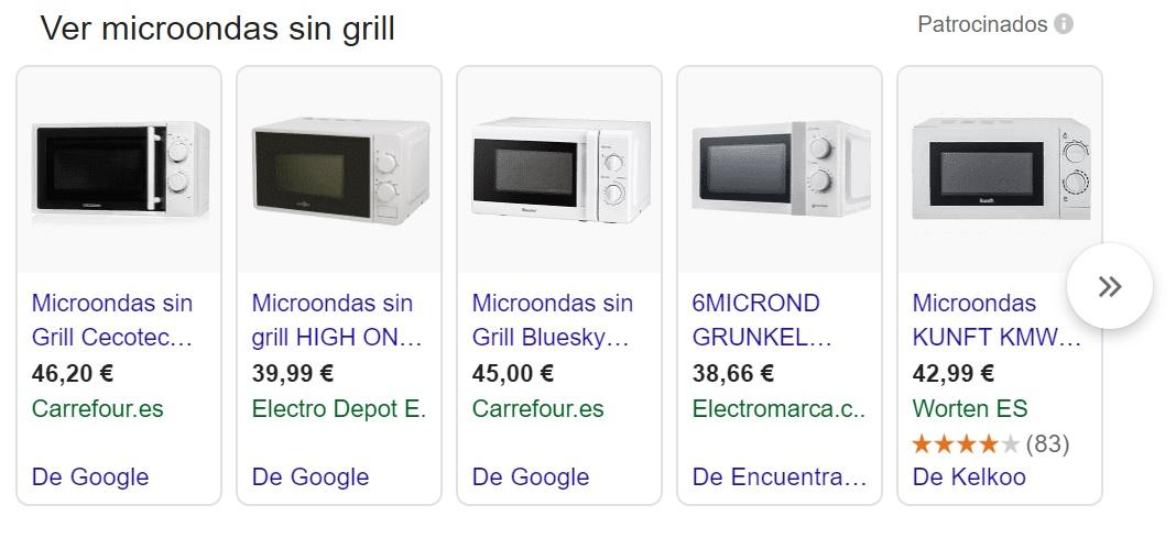 Precios microondas sin grill