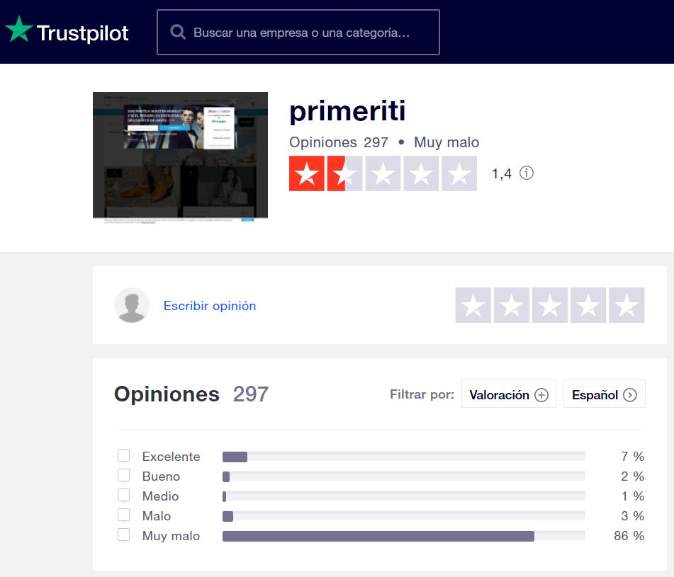 Primeriti opiniones en Trustpilot