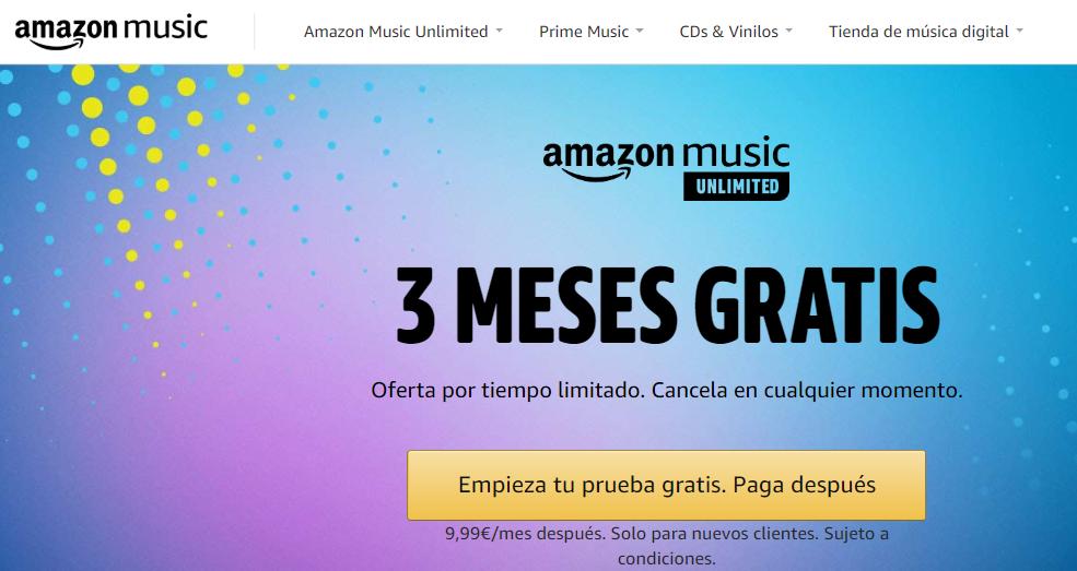 Promoción Amazon Music Unlimited 3 meses gratis