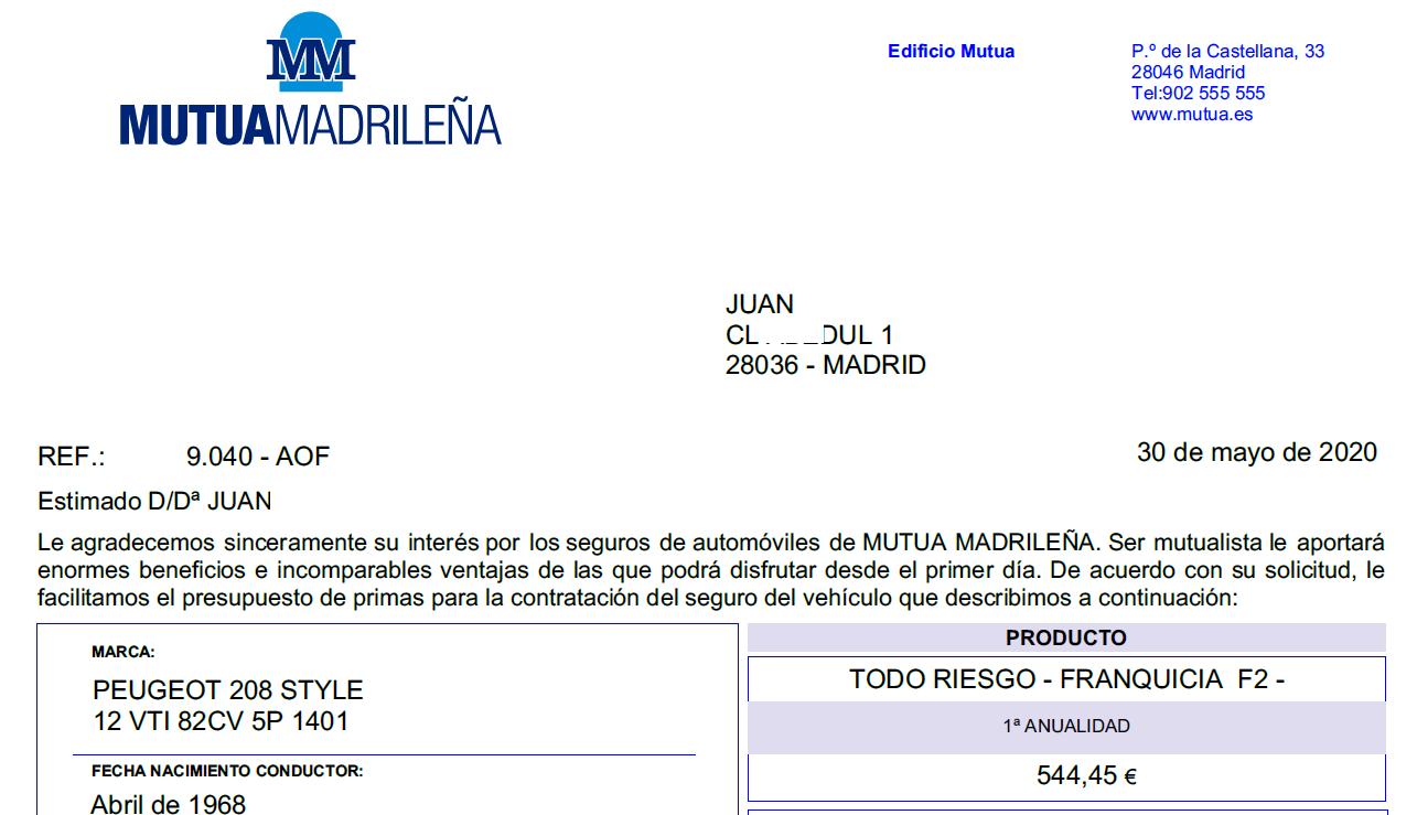 Propuesta de seguro Mutua Madrileña
